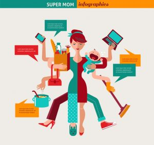 Super Mom - mother with baby, working, coocking, cleaning and make a shopping